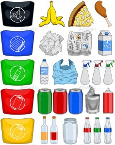 Food Bottles Cans Paper Trash Recycle PackP